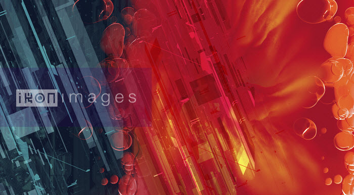 Abstract montage of blue and red lines and shapes - Abstract montage of blue and red lines and shapes - Paul Price