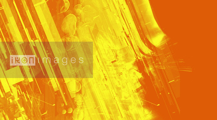 Abstract montage of yellow and orange lines and shapes - Abstract montage of yellow and orange lines and shapes - Paul Price