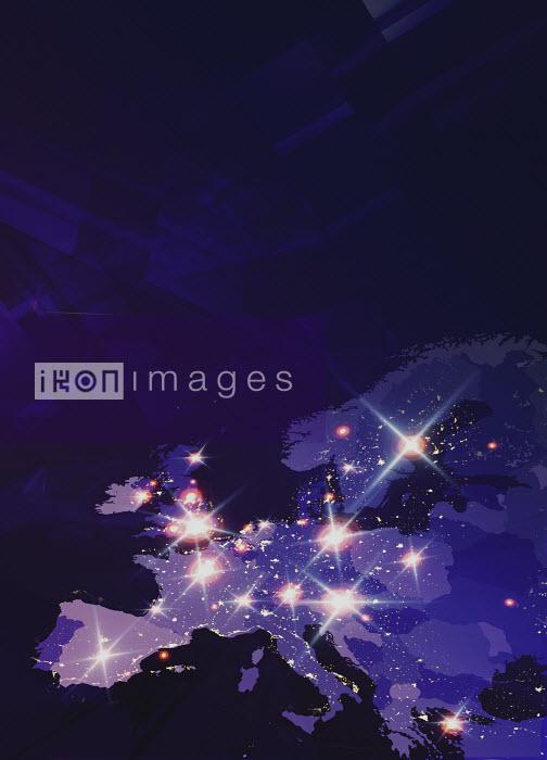 Lights shining on futuristic map of Europe - Lights shining on futuristic map of Europe - Paul Price
