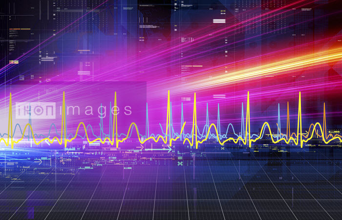 Abstract bright lights streaming across grid with wave pattern graph - Abstract bright lights streaming across grid with wave pattern graph - Paul Price