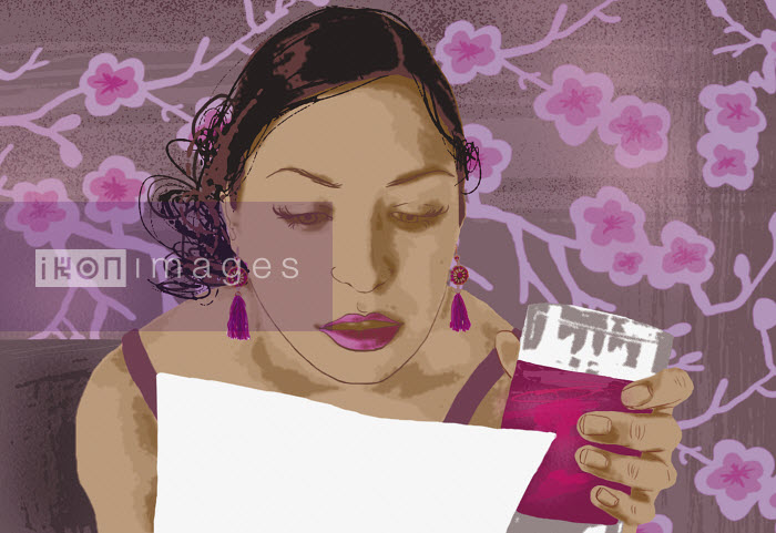 Woman reading letter and drinking - Woman reading letter and drinking - Marina Caruso