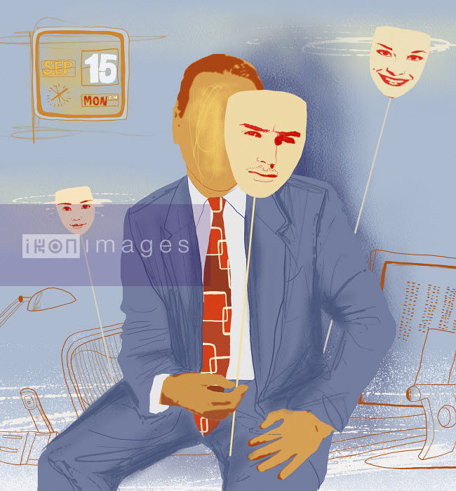 Businessman holding personality mask - Businessman holding personality mask - Marina Caruso