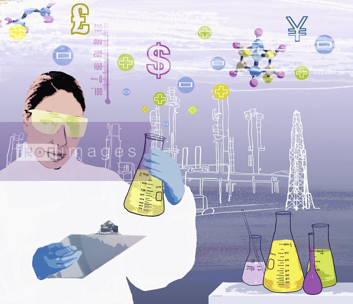 Scientist holding beaker - Scientist holding beaker - Marina Caruso