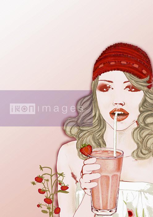 Woman drinking smoothie - Woman drinking smoothie - Marina Caruso