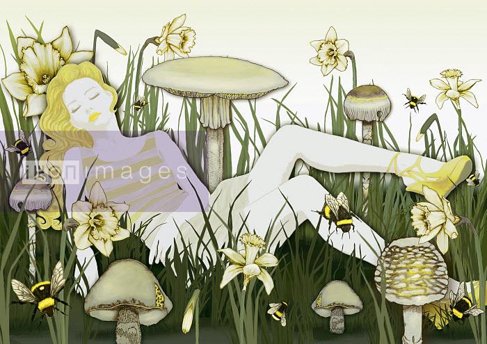 Woman sleeping in grass - Woman sleeping in grass - Marina Caruso