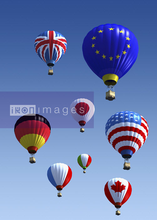 International flag hot air balloons - International flag hot air balloons - Oliver Burston