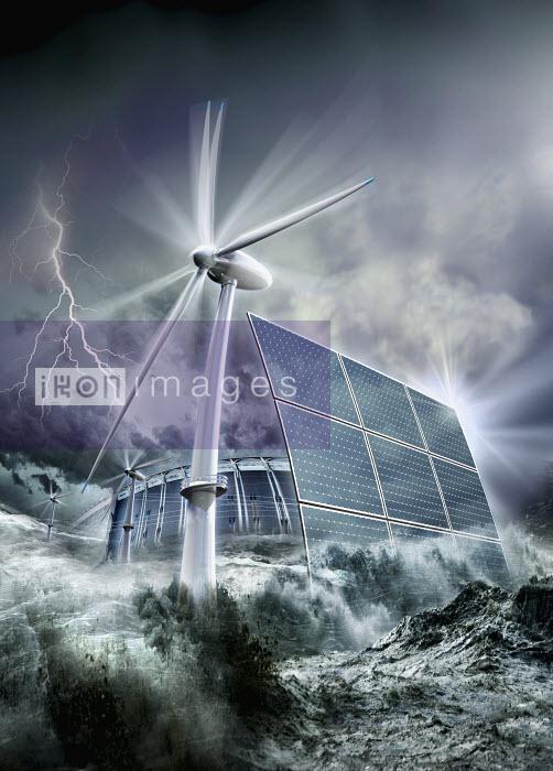 Windmill and solar panels in ocean - Windmill and solar panels in ocean - Oliver Burston