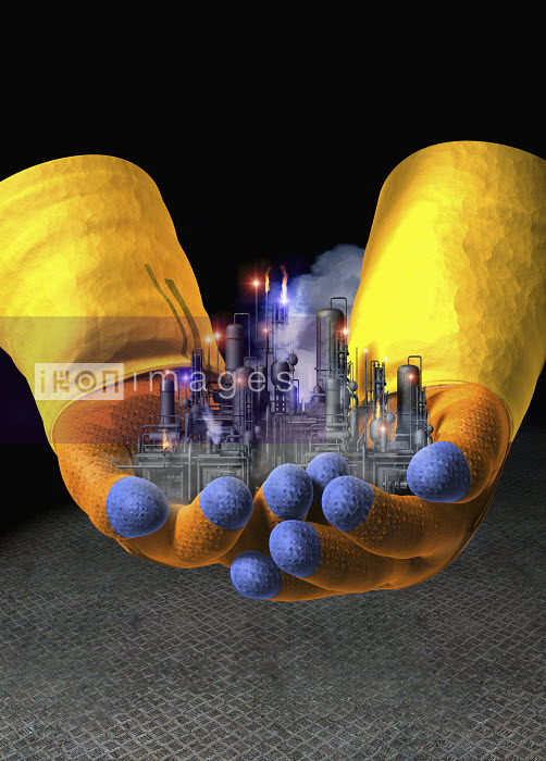 Gloved hands holding toxic factory - Gloved hands holding toxic factory - Oliver Burston