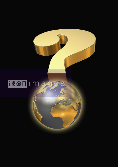 Globe and gold question mark - Globe and gold question mark - Oliver Burston
