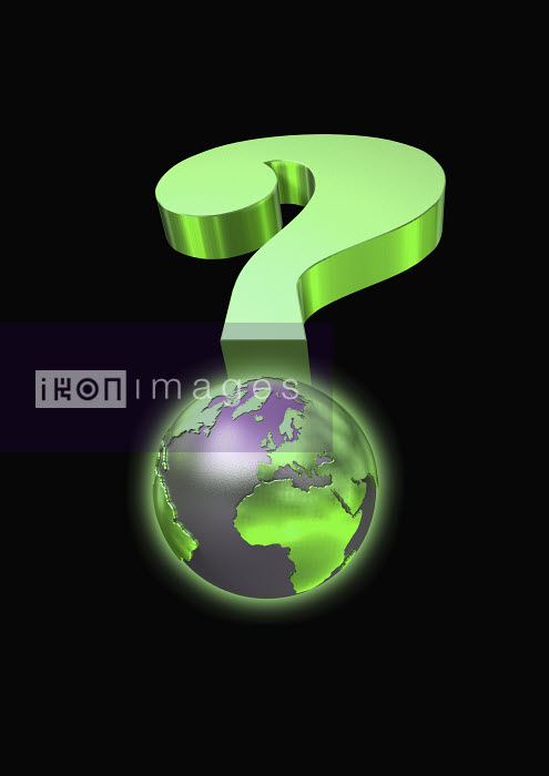 Globe and green question mark - Globe and green question mark - Oliver Burston