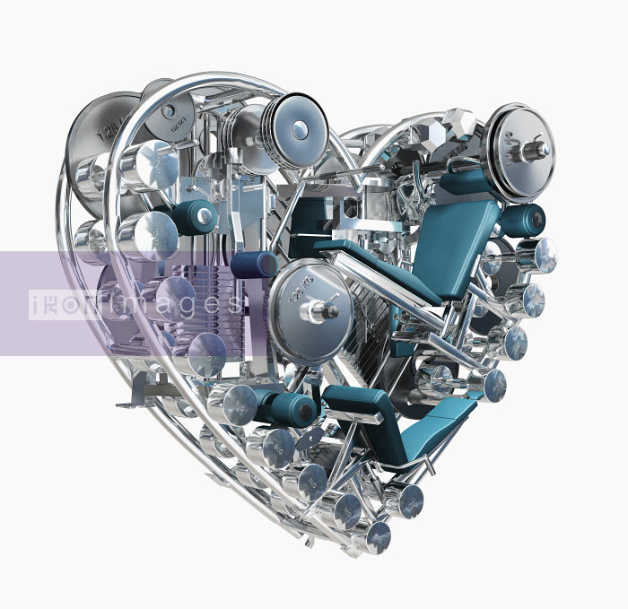 Exercise equipment in metal heart - Exercise equipment in metal heart - Oliver Burston
