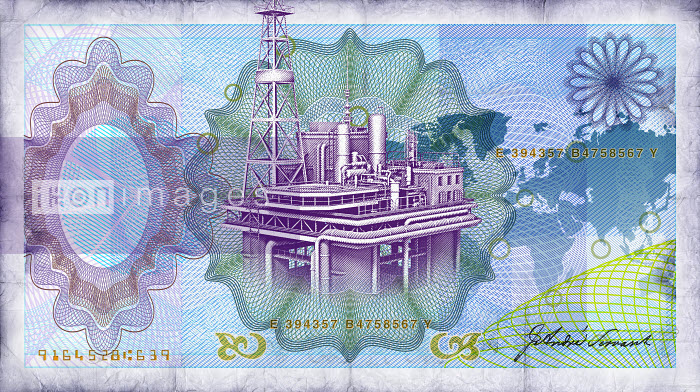 Close up of blue bank note with oil rig in center - Close up of blue bank note with oil rig in center - Oliver Burston