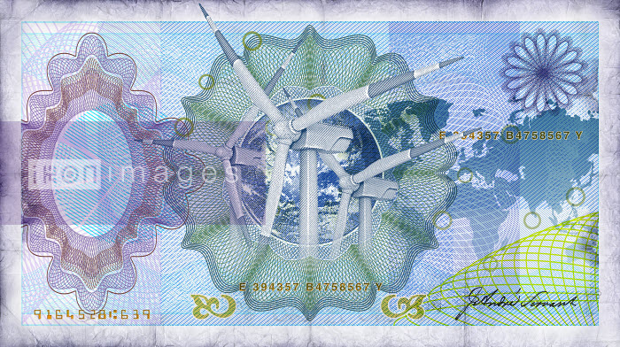 Close up of blue bank note with wind turbines in center - Close up of blue bank note with wind turbines in center - Oliver Burston