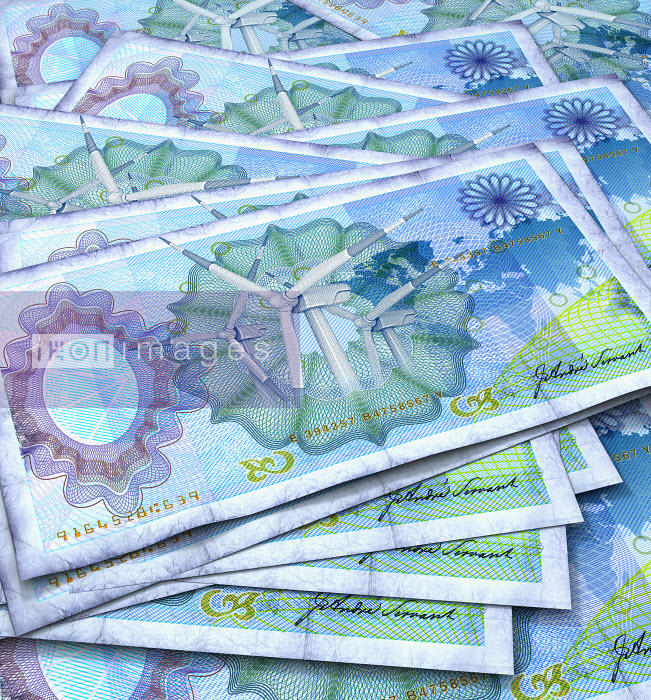 Close up of blue bank notes with wind turbines in center - Close up of blue bank notes with wind turbines in center - Oliver Burston