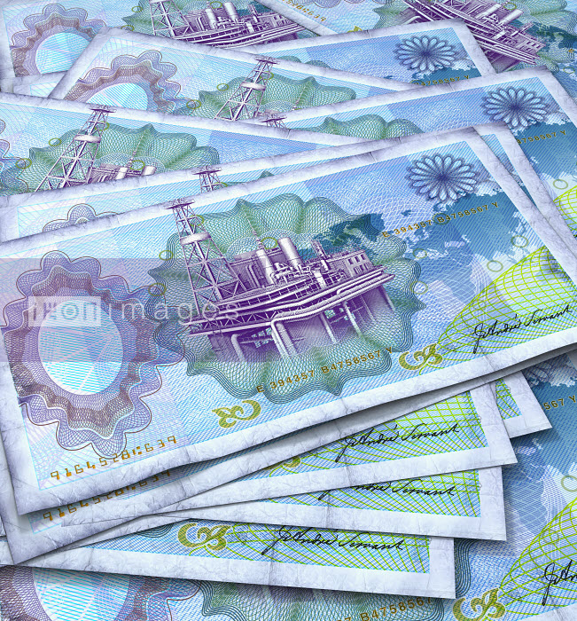Close up of blue bank notes with oil rig in center - Close up of blue bank notes with oil rig in center - Oliver Burston