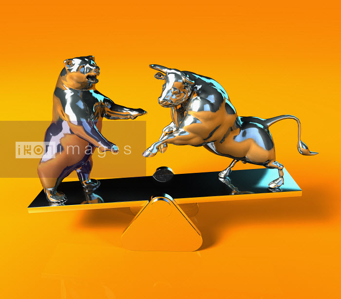 Bull and bear balancing on seesaw - Bull and bear balancing on seesaw - Oliver Burston