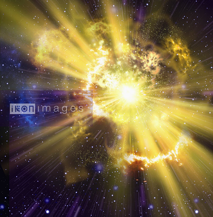 Yellow supernova exploding in outer space - Yellow supernova exploding in outer space - Oliver Burston