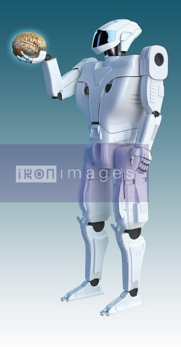 Robot holding human brain - Robot holding human brain - Oliver Burston