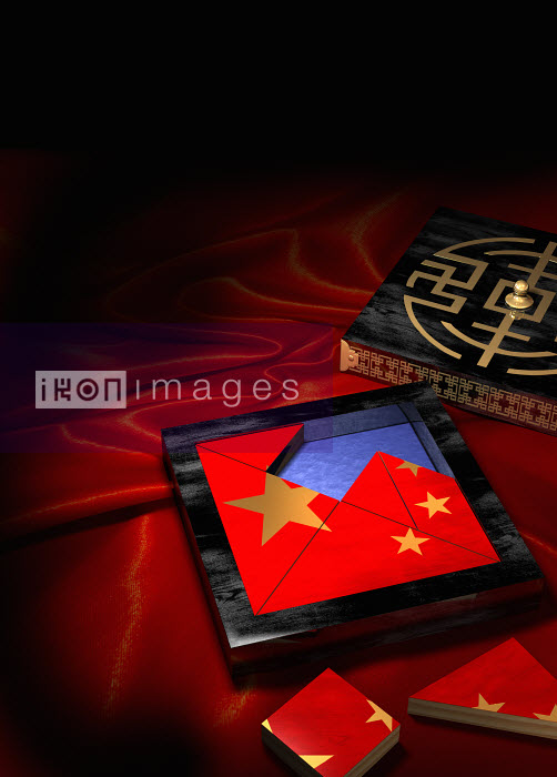 Jigsaw puzzle in box of Chinese flag - Jigsaw puzzle in box of Chinese flag - Oliver Burston