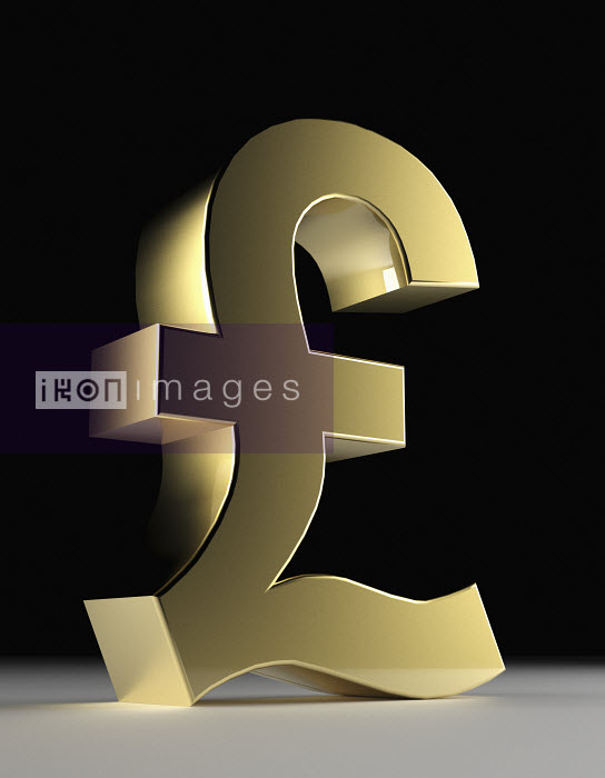 Close up of gold British pound symbol - Close up of gold British pound symbol - Oliver Burston