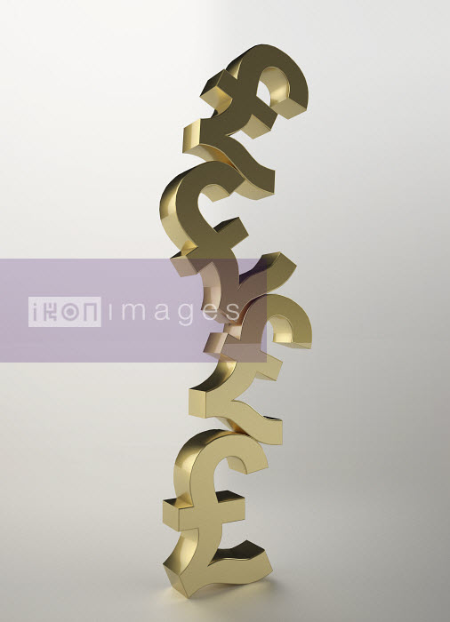 Stacked, gold British pound symbols - Stacked, gold British pound symbols - Oliver Burston