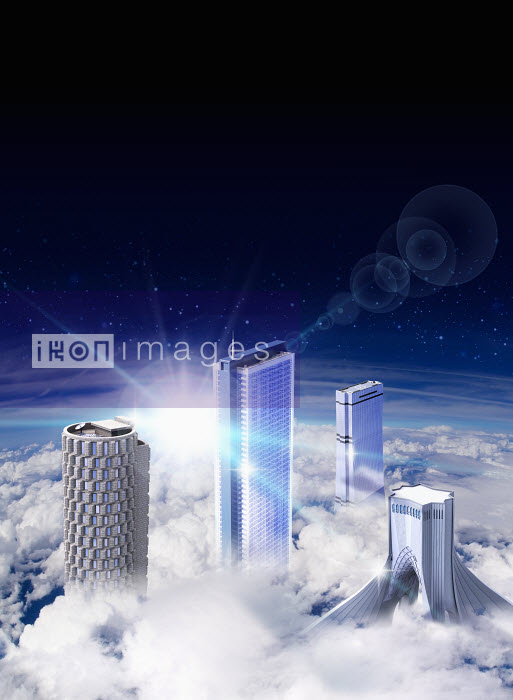 Modern skyscrapers rising above clouds - Modern skyscrapers rising above clouds - Oliver Burston