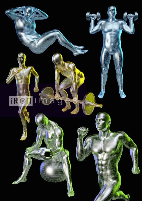 Computer model of man exercising - Computer model of man exercising - Oliver Burston