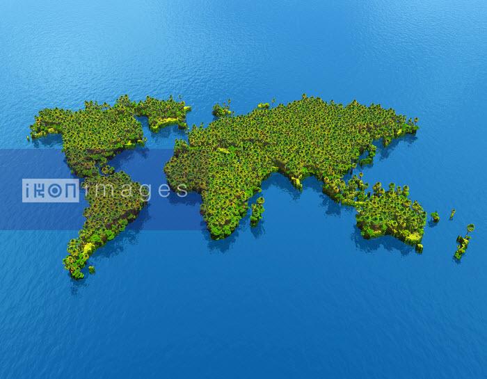 World map covered in vegetation - World map covered in vegetation - Oliver Burston