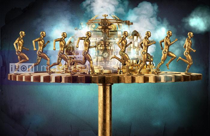 Male anatomical figures running round treadmill with pressure gauges - Male anatomical figures running round treadmill with pressure gauges - Oliver Burston