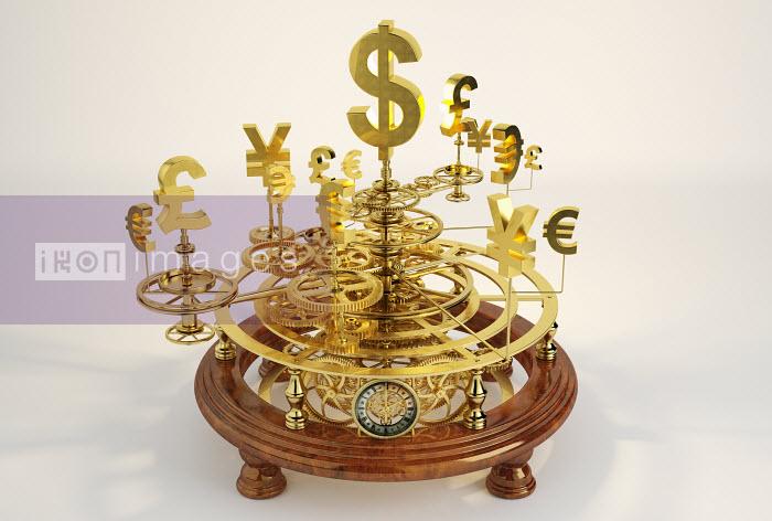 Gold international currency symbols on clockwork orrery - Gold international currency symbols on clockwork orrery - Oliver Burston