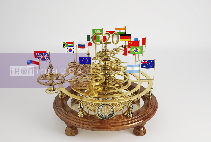 G20 flags on clockwork orrery - G20 flags on clockwork orrery - Oliver Burston