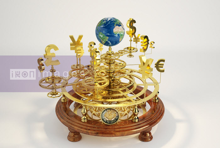 Gold international currency symbols on clockwork orrery around globe - Gold international currency symbols on clockwork orrery around globe - Oliver Burston