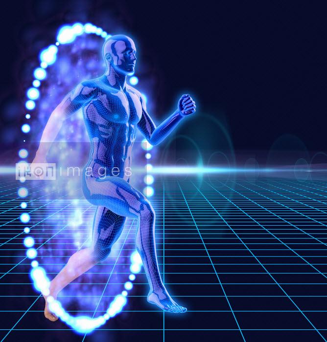Anatomical man breaking through illuminated barrier - Anatomical man breaking through illuminated barrier - Oliver Burston