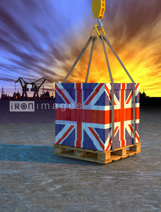Crane lifting crate painted with British flag - Crane lifting crate painted with British flag - Oliver Burston