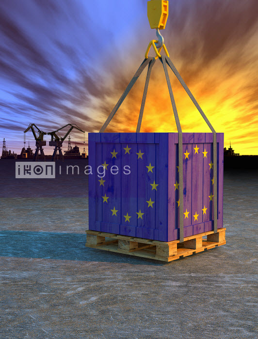 Crane lifting crate painted with European Union flag - Crane lifting crate painted with European Union flag - Oliver Burston
