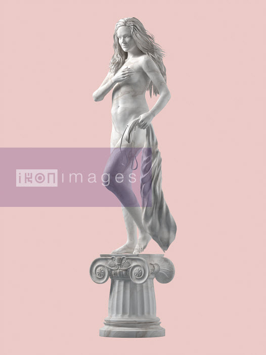 Marble statue of modern, confident, naked woman on pedestal - Marble statue of modern, confident, naked woman on pedestal - Oliver Burston