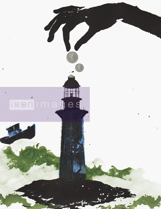 Hand dropping coins in lighthouse - Hand dropping coins in lighthouse - Katie Edwards