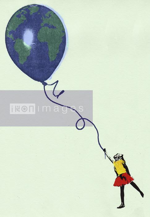 Girl holding globe balloon - Girl holding globe balloon - Katie Edwards