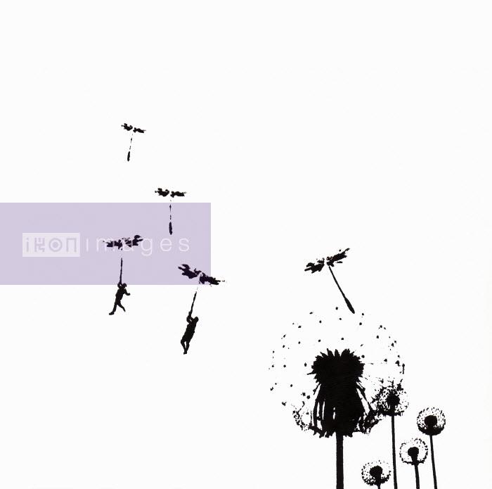 People floating away on dandelion seed - People floating away on dandelion seed - Katie Edwards