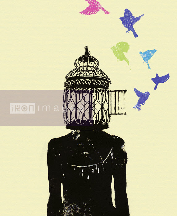 Birds flying out of woman's head birdcage - Birds flying out of woman's head birdcage - Katie Edwards