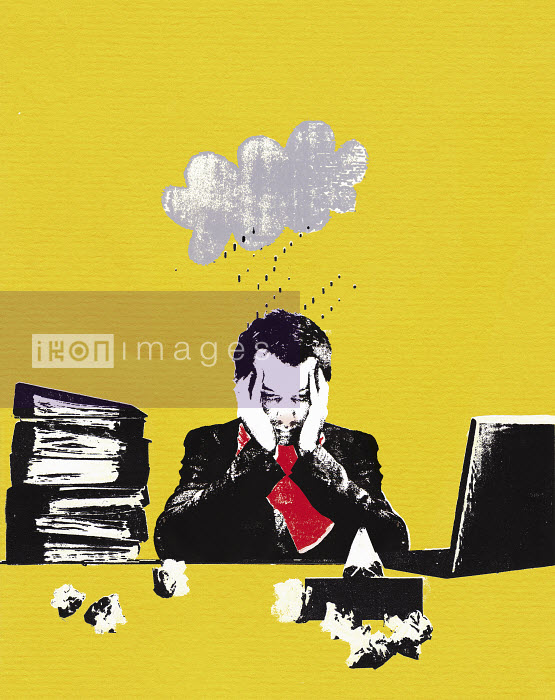 Rainy cloud over unwell businessman in office - Rainy cloud over unwell businessman in office - Katie Edwards