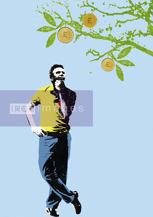 Man contemplating pound coins growing on fruit tree - Man contemplating pound coins growing on fruit tree - Katie Edwards
