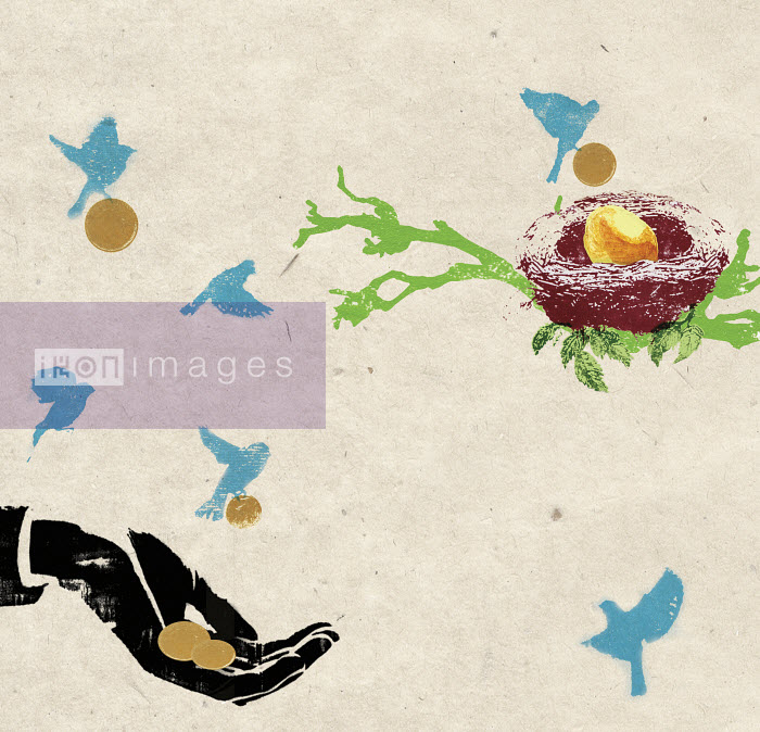 Birds carrying coins from hand to nest with gold egg - Birds carrying coins from hand to nest with gold egg - Katie Edwards