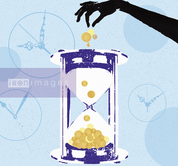 Investor dropping coins in hourglass - Investor dropping coins in hourglass - Katie Edwards