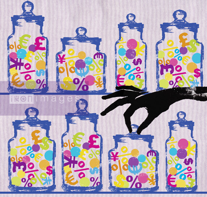 Woman reaching for candy jar with currency symbols - Woman reaching for candy jar with currency symbols - Katie Edwards