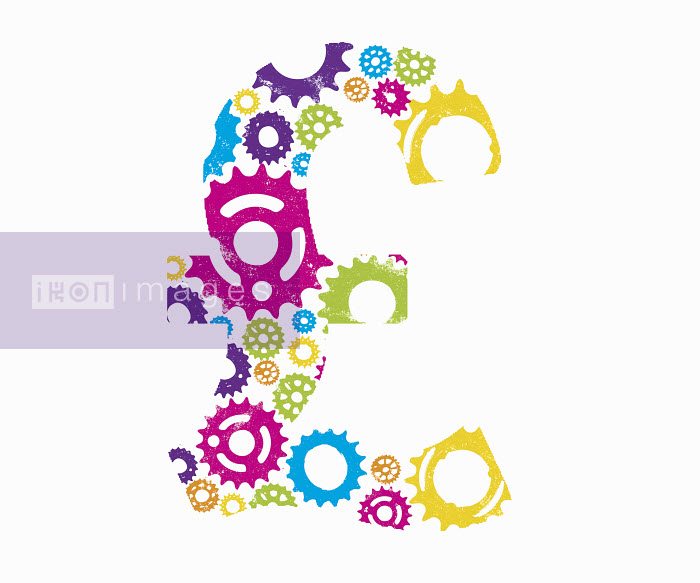 Multicolored cogs forming British pound symbol - Multicolored cogs forming British pound symbol - Katie Edwards
