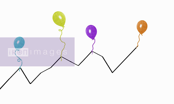 Multicolored balloons supporting line graph - Multicolored balloons supporting line graph - Katie Edwards