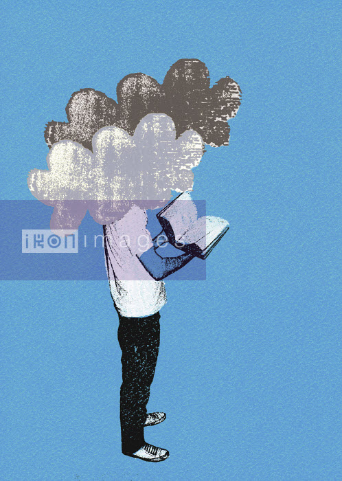 Man reading book with head in clouds - Man reading book with head in clouds - Katie Edwards
