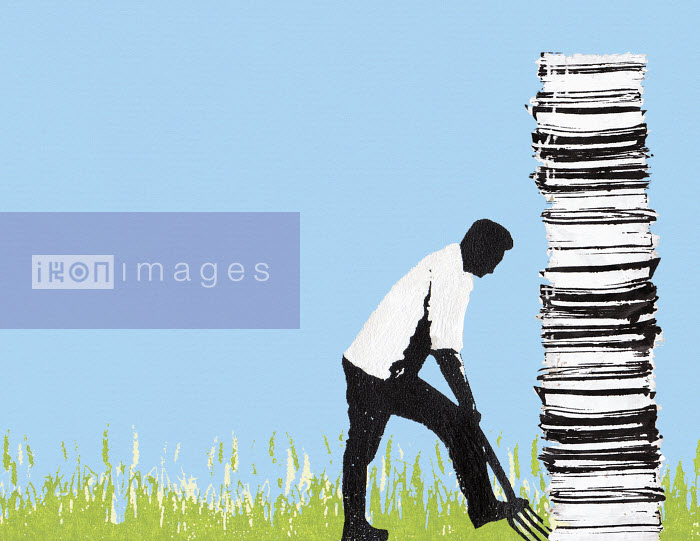 Man digging up tall pile of paperwork - Man digging up tall pile of paperwork - Katie Edwards