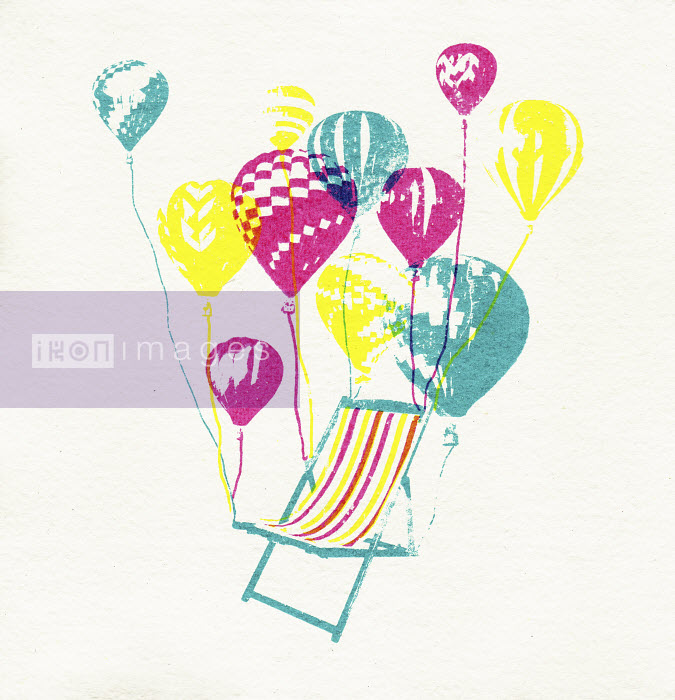 Balloons lifting empty deckchair into the air - Balloons lifting empty deckchair into the air - Katie Edwards